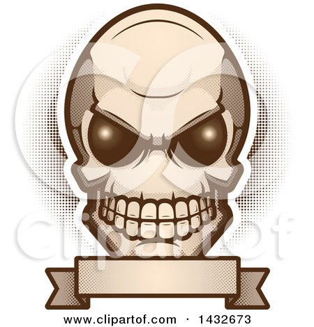 Clipart of an Alien Skull over a Blank Banner - Royalty Free Vector Illustration by Cory Thoman
