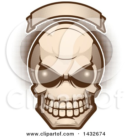 Clipart of an Alien Skull Under a Blank Banner - Royalty Free Vector Illustration by Cory Thoman