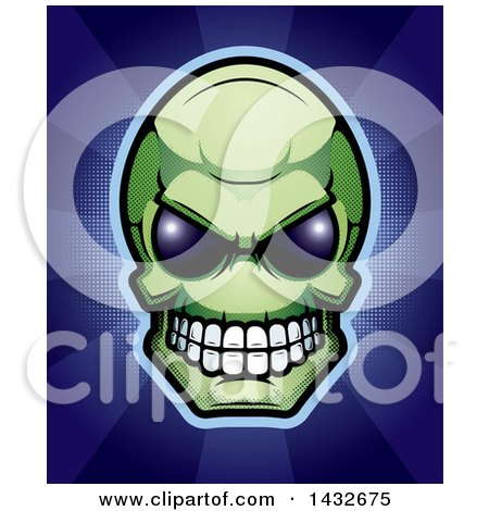 Clipart of a Halftone Green Alien Skull over Blue Rays - Royalty Free Vector Illustration by Cory Thoman