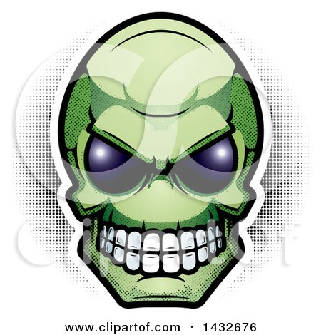Clipart Of A Halftone Green Alien Skull Head Royalty Free Vector Illustration