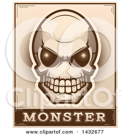 Clipart of a Halftone Alien Skull Monster Design - Royalty Free Vector Illustration by Cory Thoman