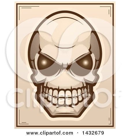 Clipart of a Halftone Alien Skull Poster Design - Royalty Free Vector Illustration by Cory Thoman