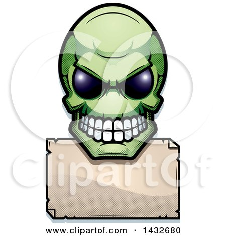Clipart of a Halftone Green Alien Skull over a Blank Sign - Royalty Free Vector Illustration by Cory Thoman