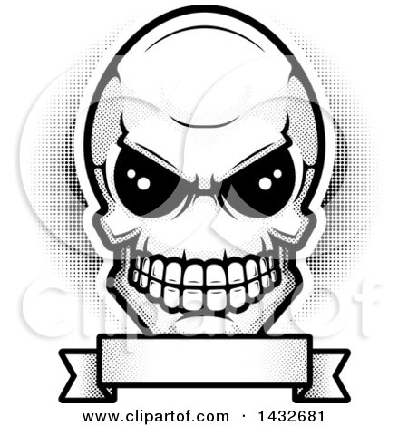 Clipart of a Black and White Alien Skull over a Blank Banner - Royalty Free Vector Illustration by Cory Thoman