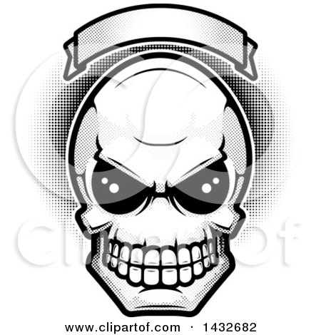 Clipart of a Black and White Alien Skull Under a Blank Banner with Halftone Dots - Royalty Free Vector Illustration by Cory Thoman