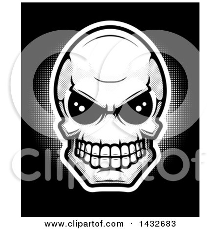 Clipart of a Black and White Alien Skull - Royalty Free Vector Illustration by Cory Thoman