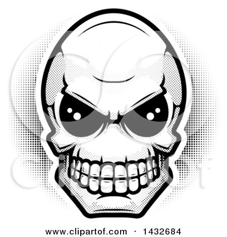 Clipart of a Black and White Halftone Alien Skull - Royalty Free Vector Illustration by Cory Thoman