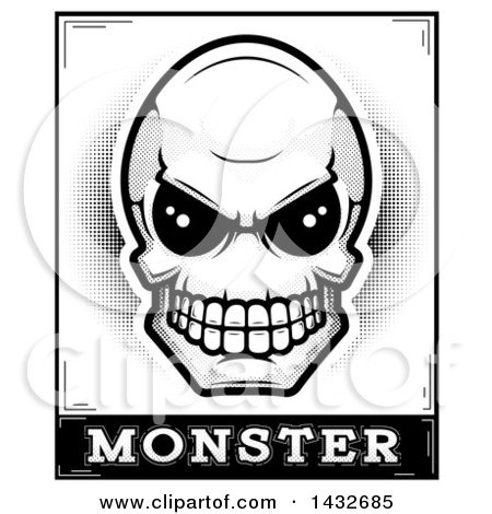 Clipart of a Black and White Halftone Alien Skull Monster Design - Royalty Free Vector Illustration by Cory Thoman