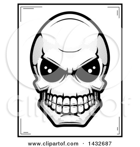 Clipart of a Black and White Halftone Alien Skull Poster Design - Royalty Free Vector Illustration by Cory Thoman