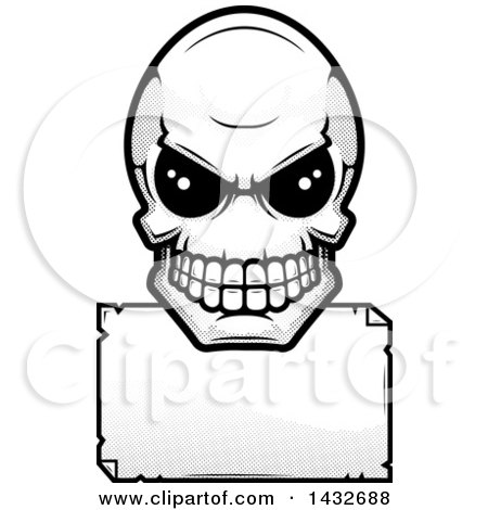 Clipart of a Black and White Halftone Alien Skull over a Blank Sign - Royalty Free Vector Illustration by Cory Thoman