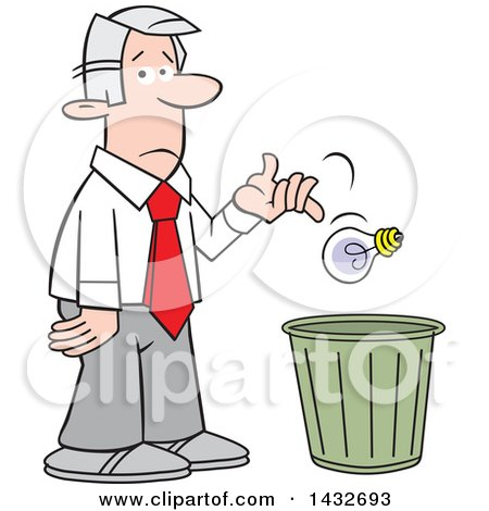 Clipart of a Cartoon Disappointed Silver Haired Caucasian Business Man Tossing a Bad Idea into a Trash Bin - Royalty Free Vector Illustration by Johnny Sajem