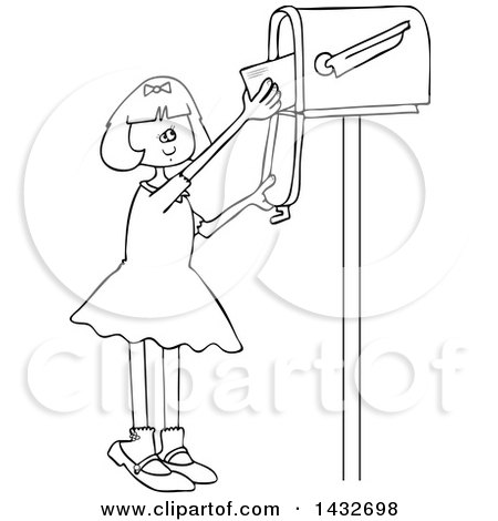 Clipart of a Cartoon Black and White Lineart Happy Girl Getting Letters from a Mailbox - Royalty Free Vector Illustration by djart