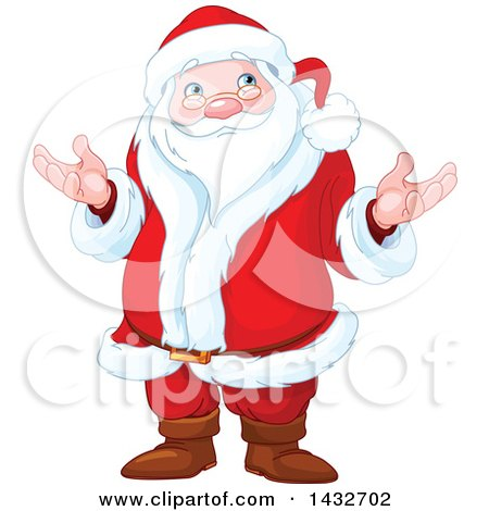 Clipart of a Confused Christmas Santa Claus Shrugging - Royalty Free Vector Illustration by Pushkin