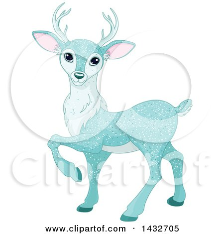 Clipart of a Beautiful Ice Blue Sparkly Christmas Deer - Royalty Free Vector Illustration by Pushkin