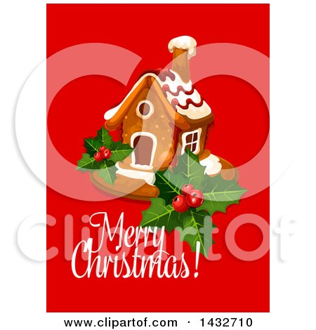 Clipart of a Merry Christmas Greeting with a Gingerbread House - Royalty Free Vector Illustration by Vector Tradition SM