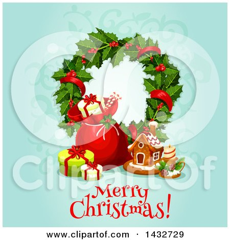 Clipart of a Merry Christmas Greeting with a Wreath, Sack, Gifts and Gingerbread House - Royalty Free Vector Illustration by Vector Tradition SM