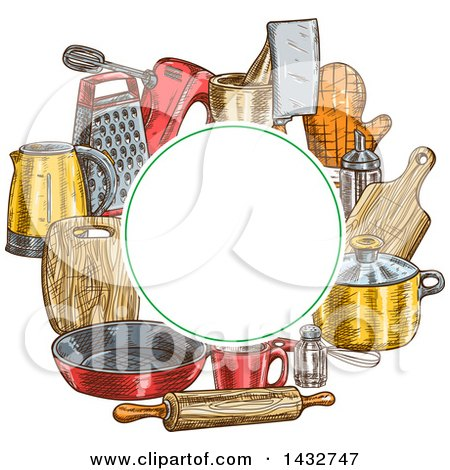Clipart of a Blank Circle Frame over Sketched Kitchen Items - Royalty Free Vector Illustration by Vector Tradition SM