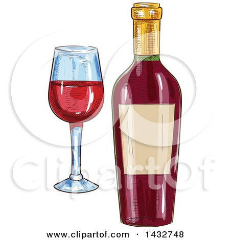 Clipart of a Sketched Bottle and Glass of Red Wine - Royalty Free Vector Illustration by Vector Tradition SM
