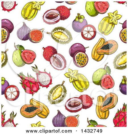Clipart of a Seamless Background Pattern of Sketched Tropical Fruits - Royalty Free Vector Illustration by Vector Tradition SM