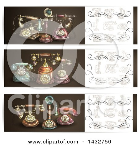 Clipart of Vintage Telephone Website Banner Headers - Royalty Free Vector Illustration by Vector Tradition SM