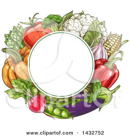 Clipart of a Blank Circle Frame over Sketched Vegetables - Royalty Free Vector Illustration by Vector Tradition SM