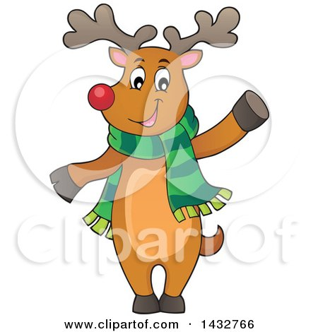 Clipart of a Happy Christmas Reindeer Wearing a Scarf and Waving or Presenting - Royalty Free Vector Illustration by visekart