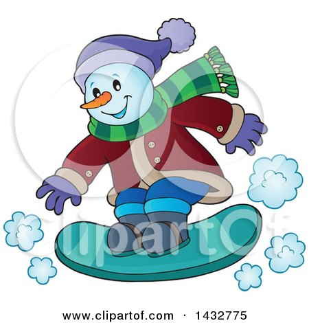 Clipart of a Happy Snowman Snow Boarding - Royalty Free Vector Illustration by visekart