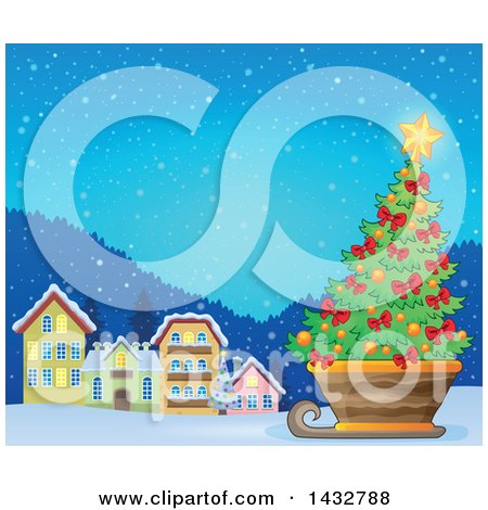Clipart of a Christmas Tree in a Sleigh near a Village - Royalty Free Vector Illustration by visekart