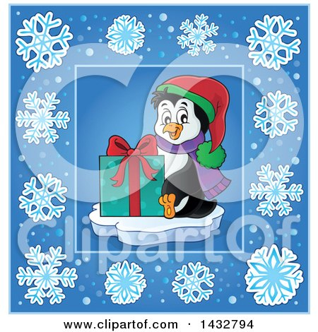Clipart of a Christmas Penguin Holding a Gift Inside a Blue Snowflake Frame - Royalty Free Vector Illustration by visekart