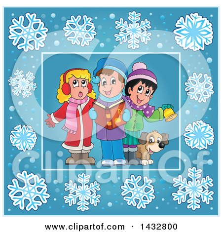 Clipart of a Group of Christmas Carolers Inside a Blue Snowflake Frame - Royalty Free Vector Illustration by visekart
