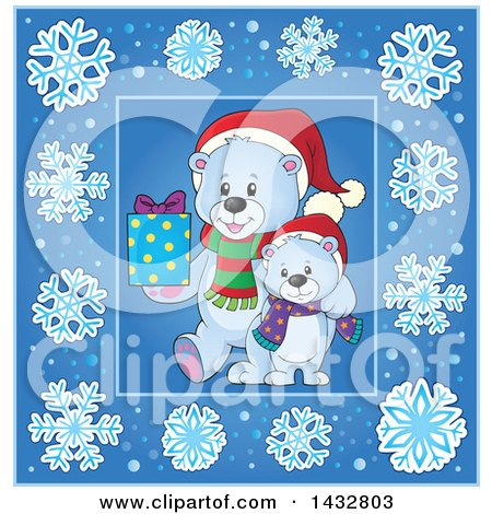 Clipart of Christmas Polar Bears Inside a Blue Snowflake Frame - Royalty Free Vector Illustration by visekart