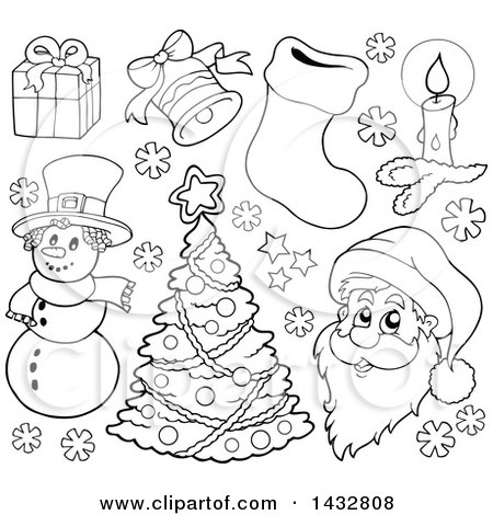 Clipart of Black and White Lineart Christmas Items - Royalty Free Vector Illustration by visekart