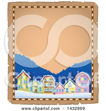 Clipart of a Christmas Town Parchment Border - Royalty Free Vector Illustration by visekart