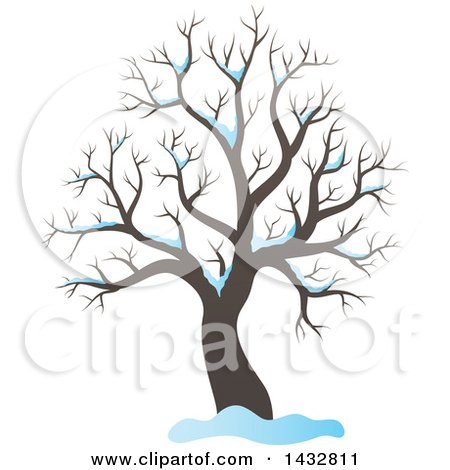 Clipart of a Bare Winter Tree and Snow - Royalty Free Vector Illustration by visekart