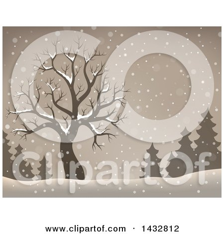 Clipart of a Sepia Toned Bare Tree and Evergreens in the Snow - Royalty Free Vector Illustration by visekart