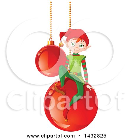Clipart of a Christmas Elf on Suspended Red Bauble Ornaments - Royalty Free Vector Illustration by Pushkin