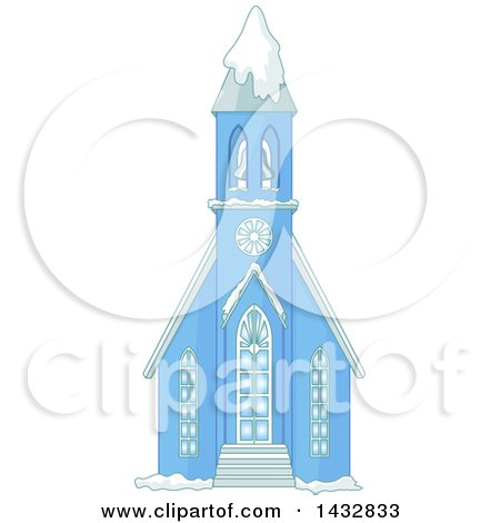 Clipart of a Blue Church in the Snow - Royalty Free Vector Illustration by Pushkin