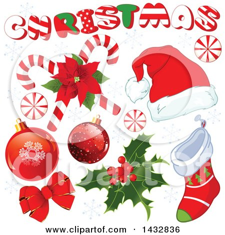 Clipart of Christmas Design Elements - Royalty Free Vector Illustration by Pushkin