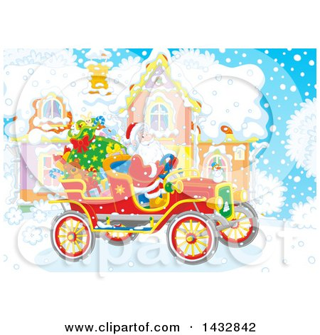 Clipart of a Scene of Santa in an Antique Car in Front of His Home in the Snow - Royalty Free Vector Illustration by Alex Bannykh