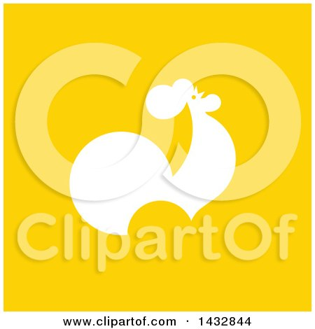 Clipart of a White Silhouetted Rooster on Yellow - Royalty Free Vector Illustration by elena