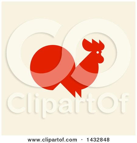 Clipart of a Red Silhouetted Rooster on Beige - Royalty Free Vector Illustration by elena