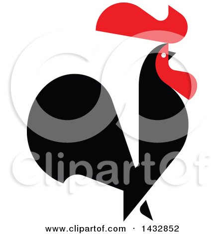 Clipart of a Red and Black Rooster Crowing - Royalty Free Vector Illustration by elena