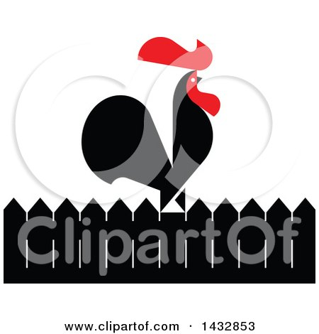 Clipart of a Red and Black Rooster Crowing on a Fence - Royalty Free Vector Illustration by elena