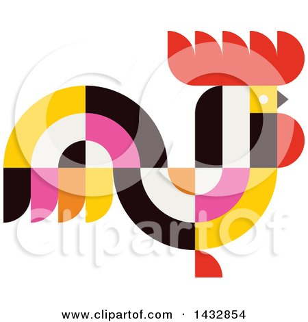 Clipart of a Colorful Rooster - Royalty Free Vector Illustration by elena