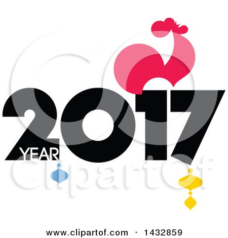 Clipart of a 2017 Year of the Rooster Chinese Zodiac Design - Royalty Free Vector Illustration by elena