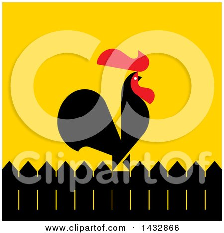 Clipart of a Red and Black Rooster Crowing on a Fence, over Yellow - Royalty Free Vector Illustration by elena