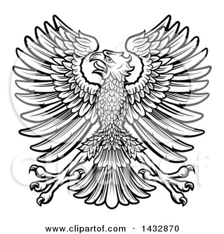 Clipart of a Black and White Imperial Coat of Arms Eagle - Royalty Free Vector Illustration by AtStockIllustration