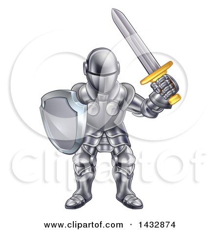 Clipart of a Cartoon Knight in a Suit of Armour - Royalty Free Vector Illustration by AtStockIllustration