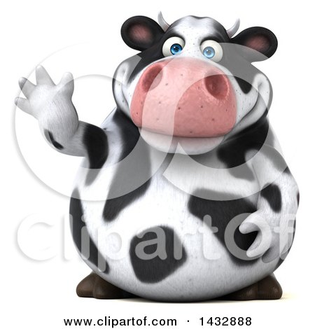 Clipart of a 3d Chubby Cow Waving, on a White Background - Royalty Free Illustration by Julos