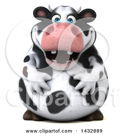 Clipart of a 3d Chubby Cow, on a White Background - Royalty Free Illustration by Julos